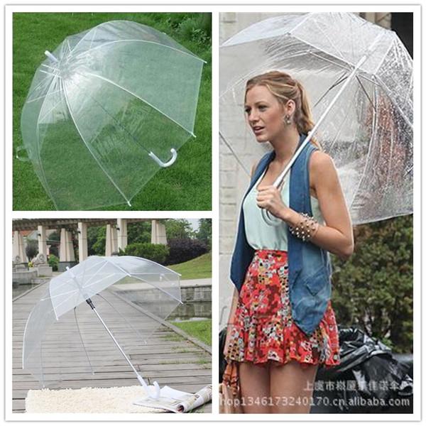 top popular Transparent Bubble Deep Dome Umbrella Cute Gossip Girl Windproof Umbrellas Clear Princess Mushroom Umbrella Wedding Party Decor A42302 2019