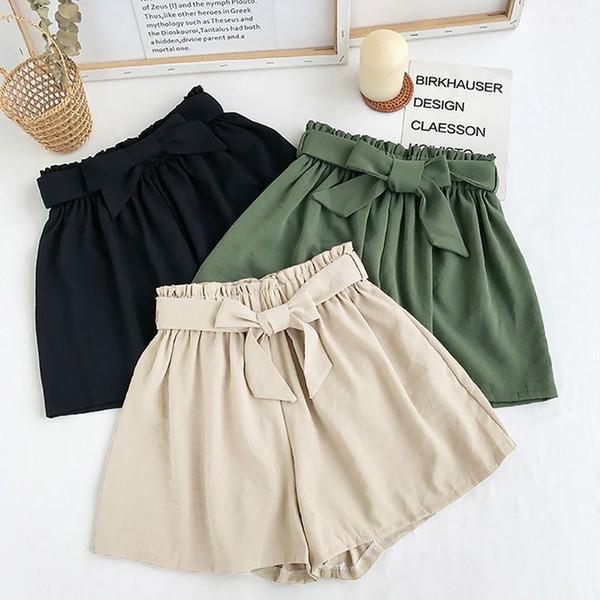 2019 Sommer-beiläufige Shorts Fashion Bow Strand High Waist Shorts Dame Women Solid Color plus lose Wide Leg kurze Hosen