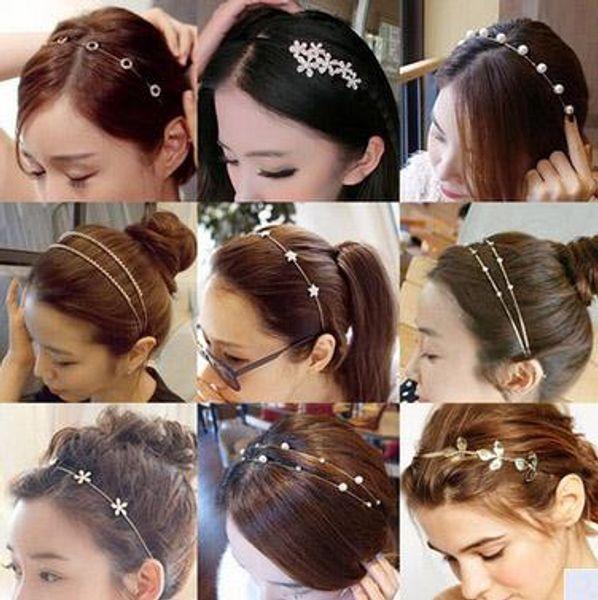 Versão Coreana Da Coroa Aro Fine Head Hoop Strass Pérola Strass Rhinestone Boutique Coreano Jóias Com Diamantes Por Atacado