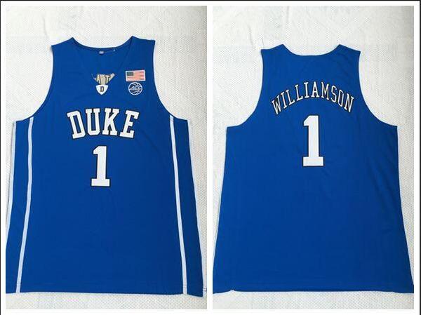 Duke Blue Devils College 2018 Basketball Jersey 1 Zion Williamson Blue Embroidered Jerseys