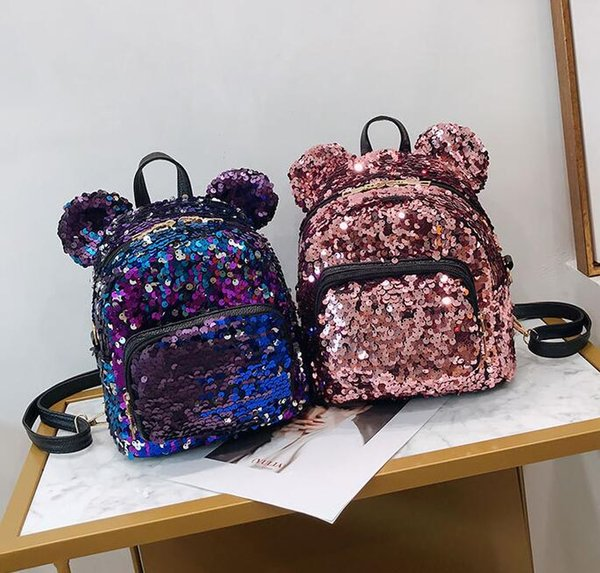 Designer Mulheres Shoulder Bag menina bonito dos desenhos animados Sequins Urso Mochila Pai-filho mouse Schoolbag Recebe Presentes Mini Sequins Bolsas