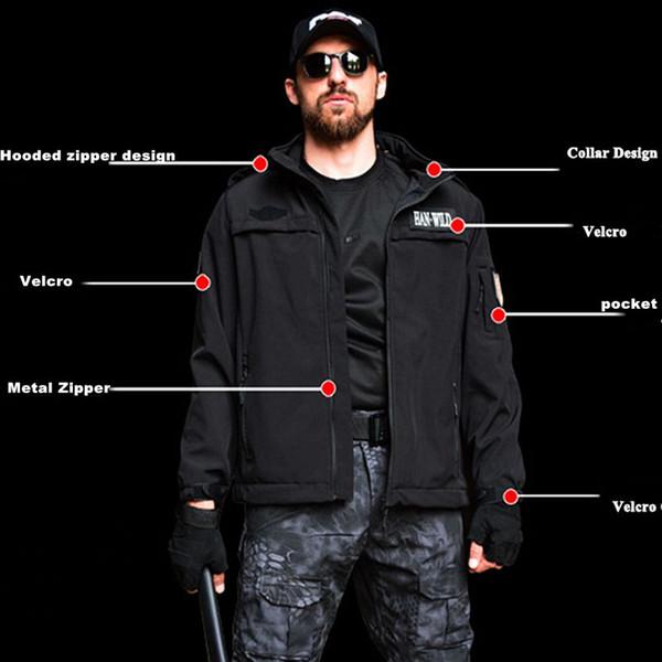 Shark Haut Softshell Taktische Jacke Männer Wasserdichte Armee Fleece Kleidung Multicam Windbreakers Jagd Kleidung 4XL Schwarz