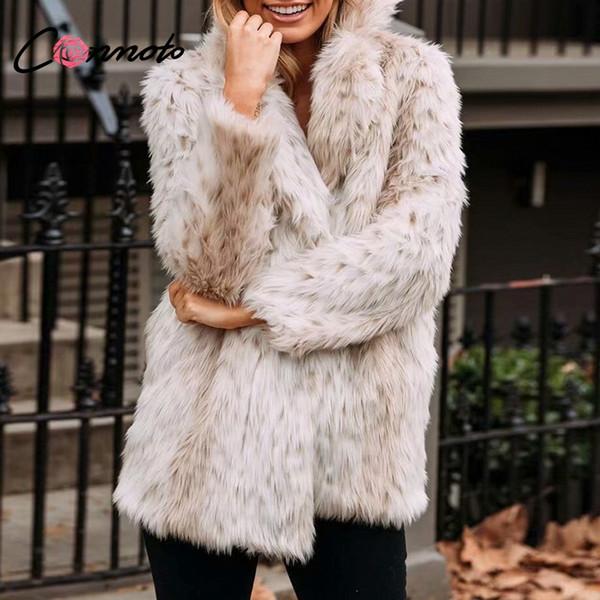 Conmoto Leopard Print Faux Pelzmantel Jacke 2018 Winter Flauschige Teddyjacke Streetwear Langer Pelz Shaggy Coat Luxus Faux