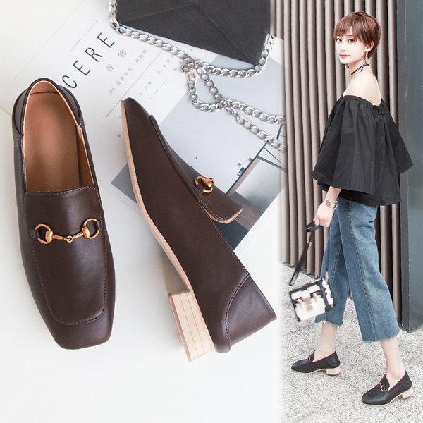 Sexy2019 Square England Solid Wood Short Single Shoehorn Metal Button Up The Foot With Joker Two Clothes Women's Singles Shoe