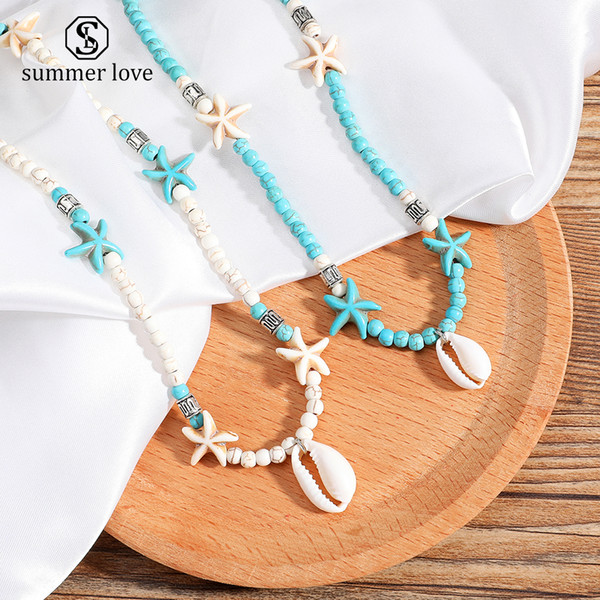 2019 New Fashion Shell Starfish Pendant Choker Necklace for Women Green White Nature Stone Beads Chain Necklace Trendy Jewelry Gift