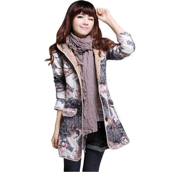 Горячие Продажи Женщин Пальто Зима Теплая Тонкий Пальто Печати С Капюшоном Длинные Пиджаки Одежда