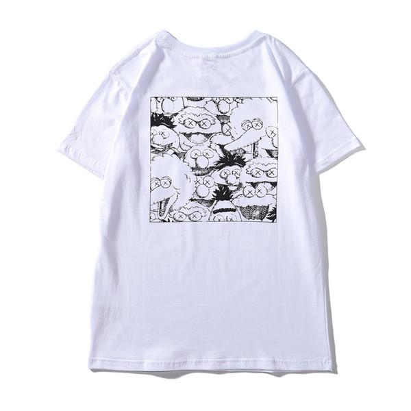 T-shirt da uomo e donna a maniche corte con ricamo a tasca XX Cartoon Graffiti