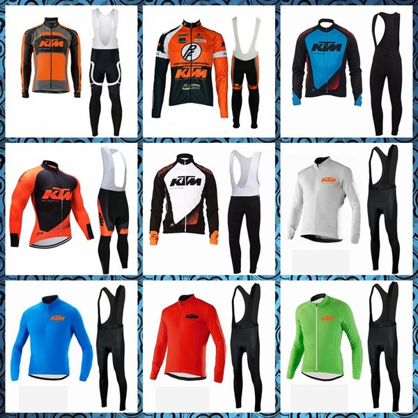 KTM Cycling long Sleeves jersey bib pants sets Breathable Quick drying men spring autumn Outdoor Sports suits 52301