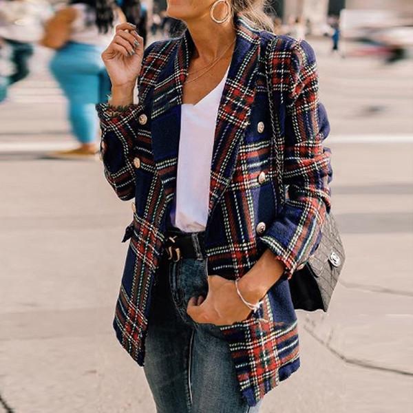 Casual de la moda del otoño Mujeres diario del negocio del estilo adelgazan las chaquetas chaqueta del juego de señora de la oficina traje a cuadros patrón de la capa con el botón Blazer