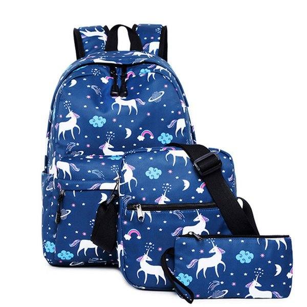 3pcs/set Women Unicorn Printing Backpack Student Book Bag with Purse Laptop Bagpack Lady School Bag for Teenager Girls