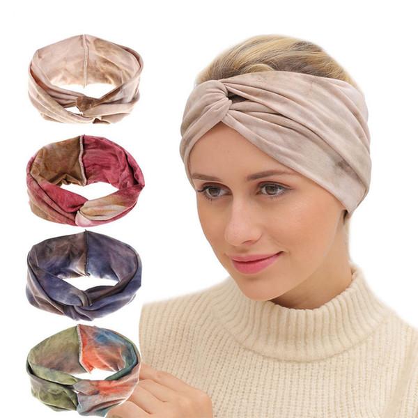 BOHO Tie Dye Cotton Fasce Bandana Turbante Twisted Cross Head Wrap Elastico Donna Ragazza Fasce per capelli Accessori per capelli Fasciatura