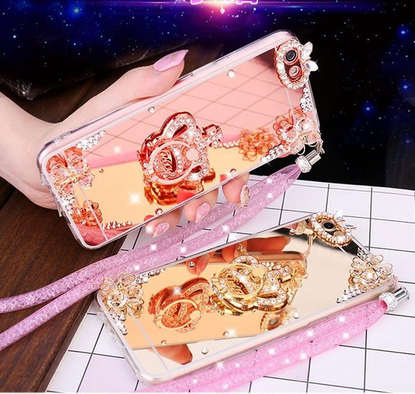 Shinning Mirror silica gel Phone Case for samsung S8plus Cover Case Protection Cover crystal cases for S7edge case with chain keyring