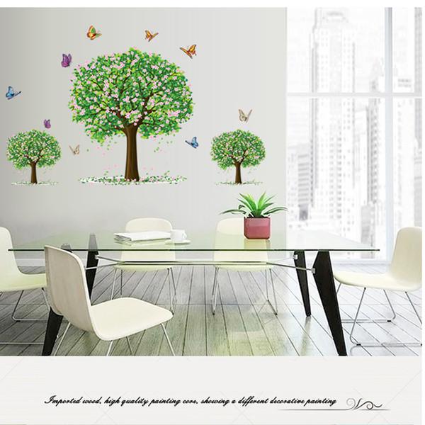 Adorável Três Família Árvores Verdes Adesivo Planta Adesivos de Parede Decal Home Decor Acessórios de Arte Decorações