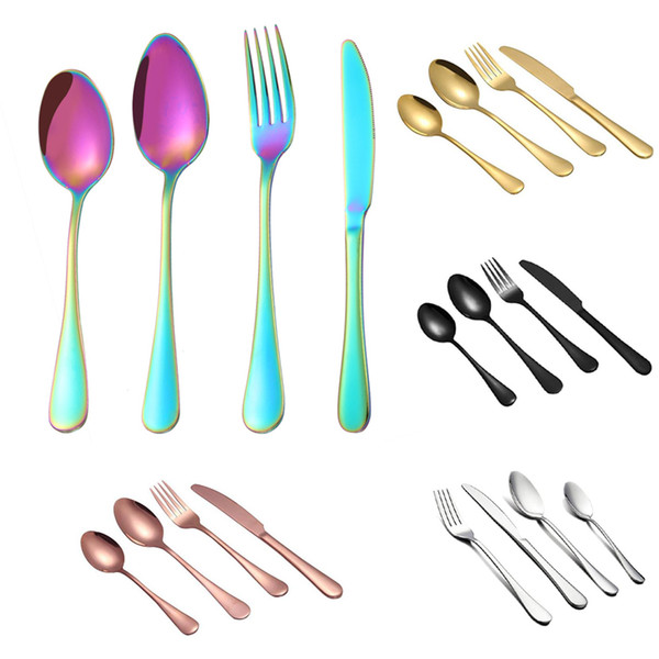 top popular Hot Sale Stainless Steel Flatware Set Spoon Fork Knife Kit Flatware Sets Stainless Steel Cutlery Set Tableware Dinnerware Set 2021