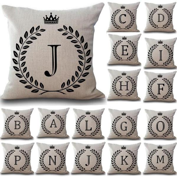 1Pcs Carta Crown 43 * 43 centímetros Algodão Linho Throw Pillow Caso Capa de Almofada Car Decoração decoração do sofá fronha de almofada decorativa