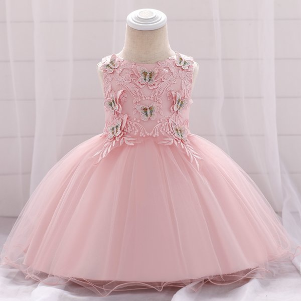 1st Birthday Princess Dress.2019 Baby Girl First Birthday Dress Child Butterfly Sticker Flowers Wedding Dress Pink Tulle Princess Dress For Wedding Party Kids Clothing From