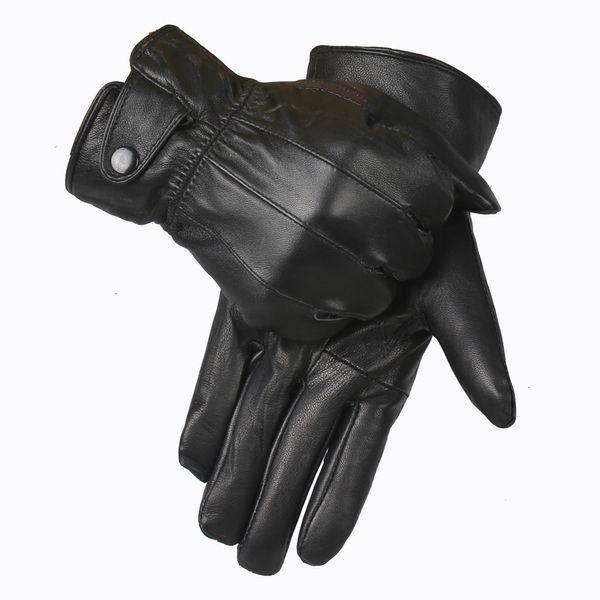 YCFUR guantes de cuero genuino de los hombres de guantes de invierno de alta calidad de cuero de oveja real de los hombres de las manoplas Guantes de piel de oveja genuina