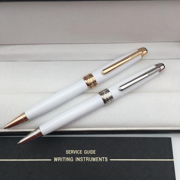serie 163 lusso mb penna a sfera / roller / penna stilografica classique bianco resina argento clip mont penna set per scrivere penne regalo