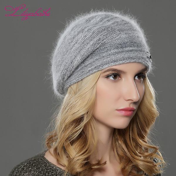LILIYABAIHE NEW зима Женщина берет вязаной шерсти ангора берет лоскутные стильный модное украшение крышка двойной теплый