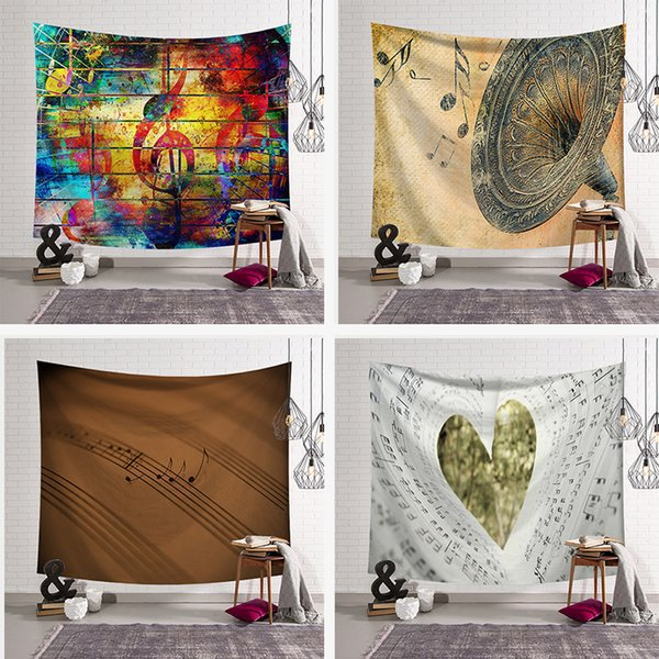Fashion Nordic Music Bohemian Sandy Beach Picnic Rug Bedroom Blanket Decor Curtain Table Cloth Yoga Mat Wall Hanging Tapestry
