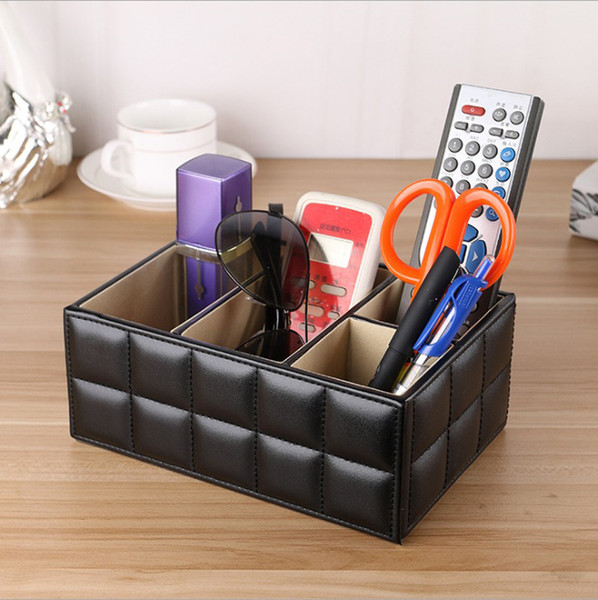 Office Desk Organizer - Multifunctional PU Leather Desktop Storage Box - Business Card/Pen/Pencil/Mobile Phone/Stationery Holder