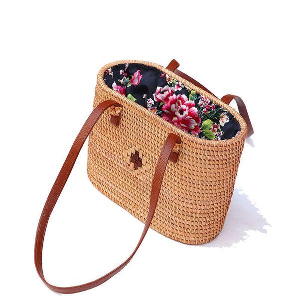 good quality Retro Hand-woven Rattan Bag Women Handbags Summer 2019 Beach Totes Cross Body Straw Bag Fashion Bolsos Mujer Bali Bag Sac
