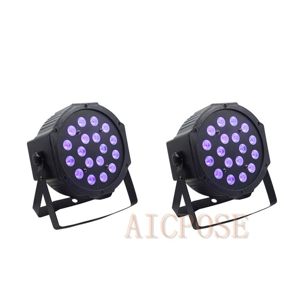2pcs/lots 3w led lamp beads 18x3w UV LED Par Stage Light flat par led dmx512 disco lights professional stage dj equipment