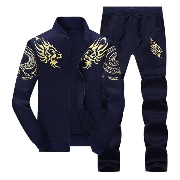 Mens Fleece Lined Hooded Jacket Thicken Strings Sweatsuit Set