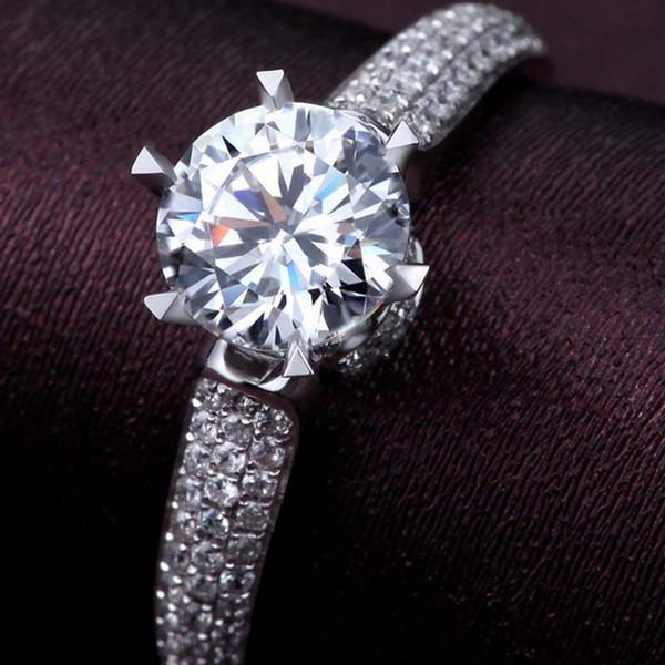 Star Diamond Alyans Wedding Elmas Yüzük Bayanlar Yüksek Kalite Kadınlar Yüzük Evlilik Düğün Nişan