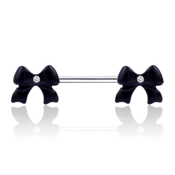 Black Bow Flower Shape Barbell Belly Button Ring Piercing Nipple Piercing Studs Woman Dance Lip Ear Nose Sexy Body Jewelry