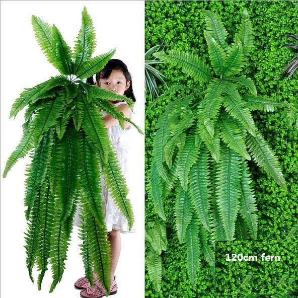fake Hanging Plants Artificial Greenery Hanging Fern Grass Plants Green Wall Plant Silk Artificial Hedge Plants Large 08