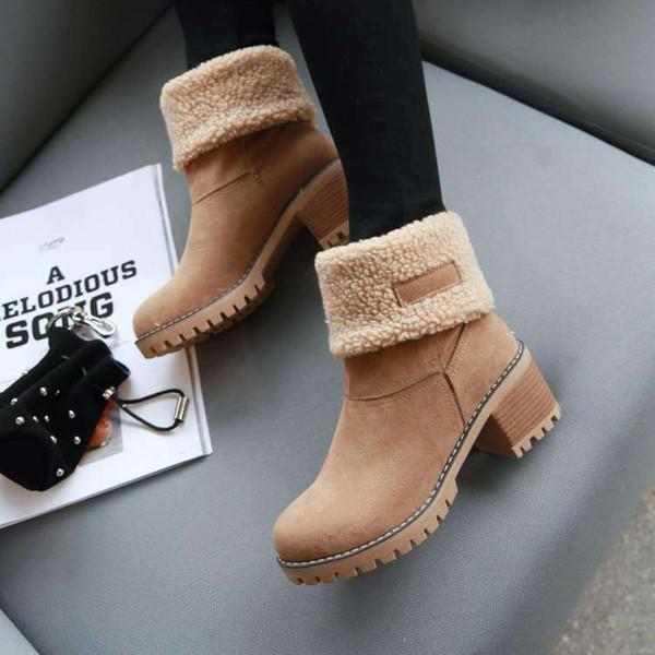 Roupa alta com botas Mulher Inverno com botas de cabeça