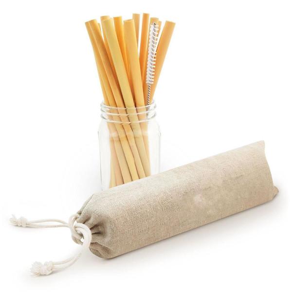 Pajitas de bambú reutilizables Pajitas reutilizables Pajas de cóctel fuertes y duraderas biodegradables Eco Friendly S
