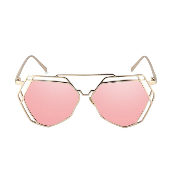 Korean Version Of Color Film Sunglasses Ladies Trend 2019 Round Face Metal Hollow Personality Sunglasses Female Polygon Glasses