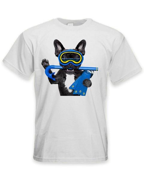 Französische Bulldogge Scuba Diver Herren T-Shirt - Lustige Pet Bull Dog Baumwolle Freizeithemd Weiß Top Ärmel Junge Baumwolle Herren T-Shirt