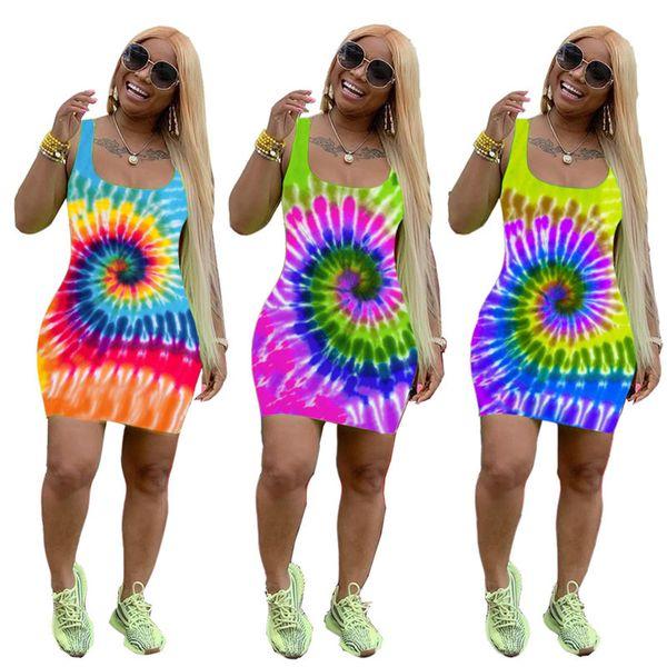 2019 designer woman summer dresses Tie-Dye Color Women Tank Vest Mini Skirt Sleeveless Slim Skinny Dresses Fashion Bodycon Dresses C72404