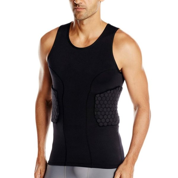 Men's Rib Protector Padded Vest Compression Shirt Training Vest with 3-Pad for Football Soccer Basketball Hockey Protective Gear