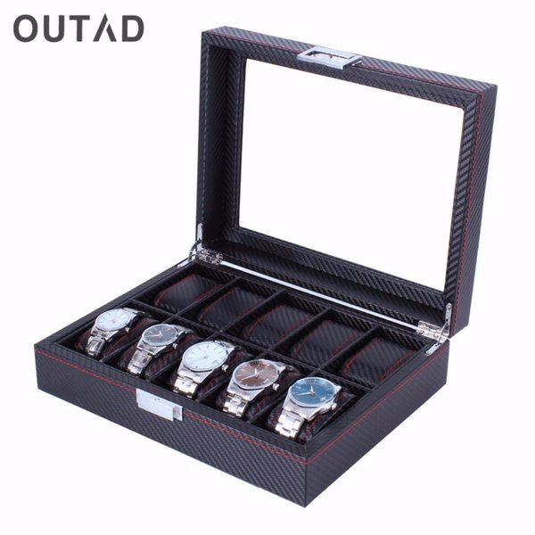 10 Grids Carbon Fibre Pattern Watch Box Watch Holder Storage Box Jewelry Display Rectangle Black Color Case