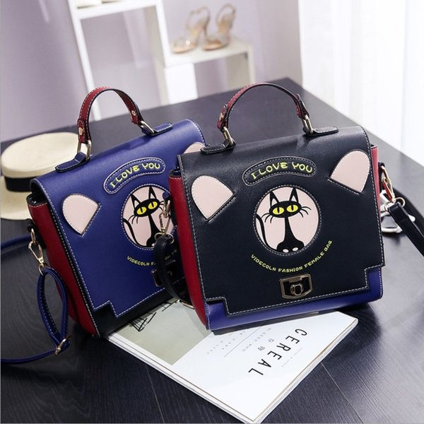 Designer-Special Black Cat Pattern Ladle Cross Body Shoulder Bag Cover Small Cute Square Fashion Handbag for school girl Kids Tote