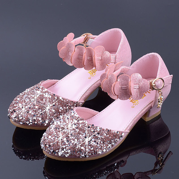 Mudipanda Children Wedding Shoes Girls School Party Sandals Kids Low Heeled Crystal Flowers Princess Shoes Baby Sandals Summer