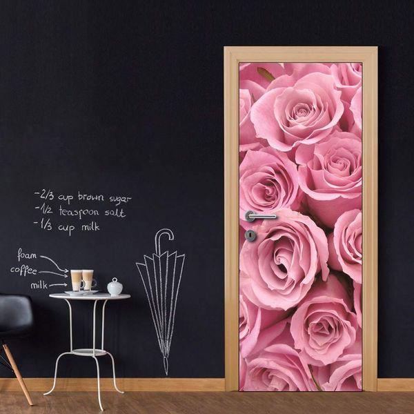 Free shipping DIY Door Sticker Romantic Rose Flower Road door decals decorations for Bedroom Living Room wallpapers Decal home accessories