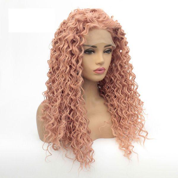 Pas cher Deep Curly Lace Front Wig Couleurs Cheveux Résistant À La Chaleur Fibres Synthétique Lace Front Wig Sans Colle Demi Main Lié Pour Toutes Les Femmes