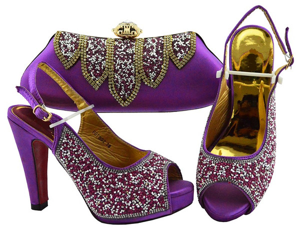 Beautiful purple women pumps match handbag set with rhinestone african shoes and bag for dress FGT002,heel 12CM