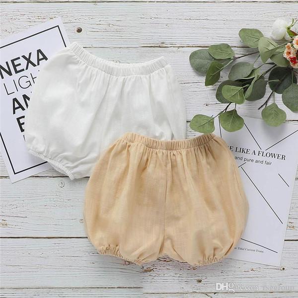 Designs Newest INS Baby Kids Girls Bloomers Blank White Beige Linen Organic Cotton Baby Girls Shorts PP Pants Designer Kids Clothing