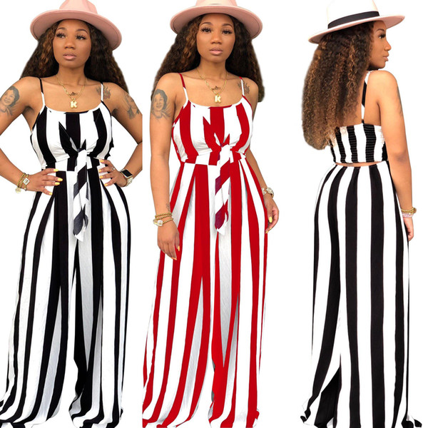 2019 hot women summer spaghetti strap jumpsuits tie up waist striped wide leg loose jumpsuit beach club party romper playsuit 3color