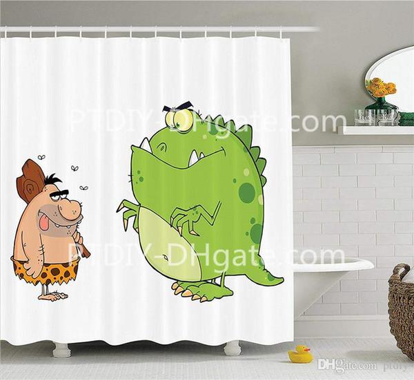 Caveman And Angry Dinosaur Cartoon Characters Barbarian Humor Comic Image Bathroom Shower Curtain