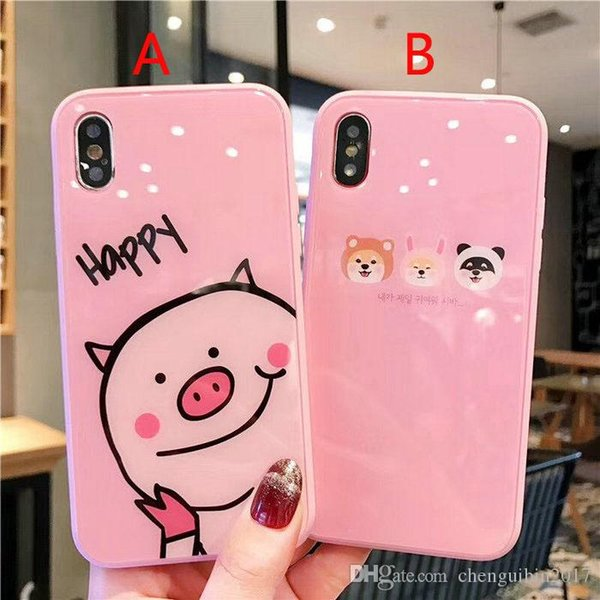 Cartoon small animal pig dog pattern tempered glass phone case cover for iphone Xs max Xr X 7 7plus 8 8plus 6 6plus