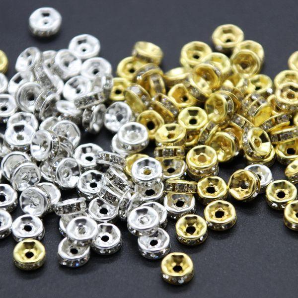 8 MM 10 MM de Diâmetro Solto Cubic Zircons Beads Perfurados Spacer Beads Encantos Do Metal Para Jóias DIY Pulseira Colar Acessórios 50 pçs / set