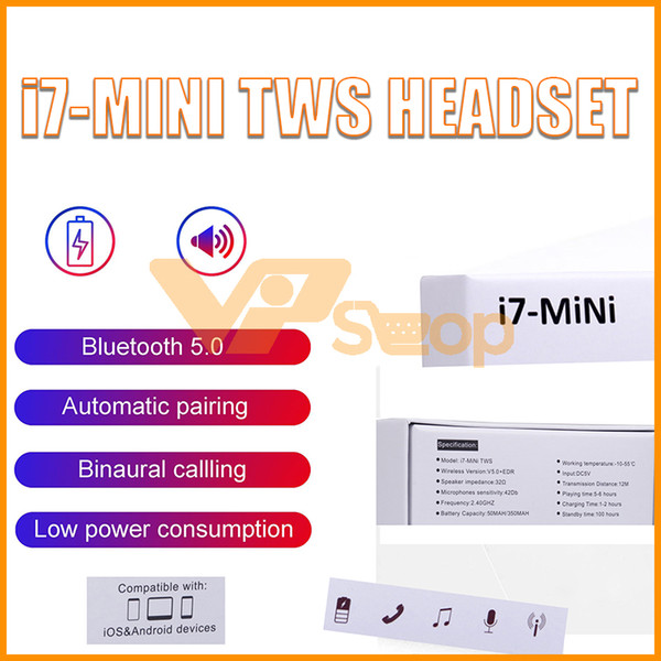 Updated Version i7 Mini TWS Wireless Earphone i7S Twins Bluetooth Headphones 5.0 Headset Mic Stereo Earbuds With Charger Box