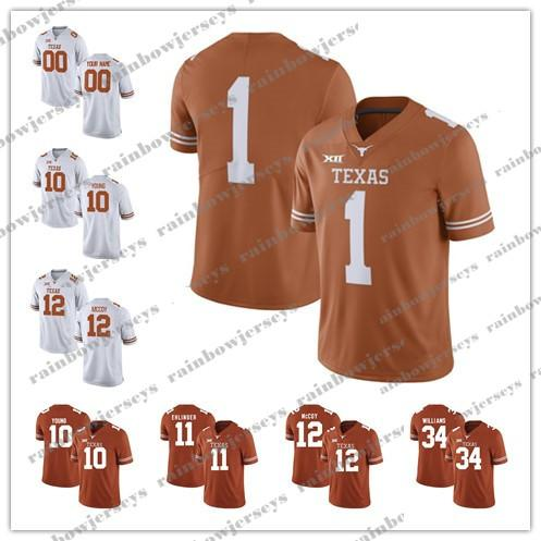 Coutume NCAA Texas Longhorns 11 Sam Ehlinger 10 Vince Young 34 Ricky Williams 12 Colt McCoy 9 Collin Johnson 3 Hicks College Football Maillots